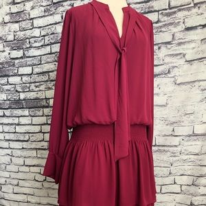 WHBM Maroon Boho Layered Long Sleeve Dress